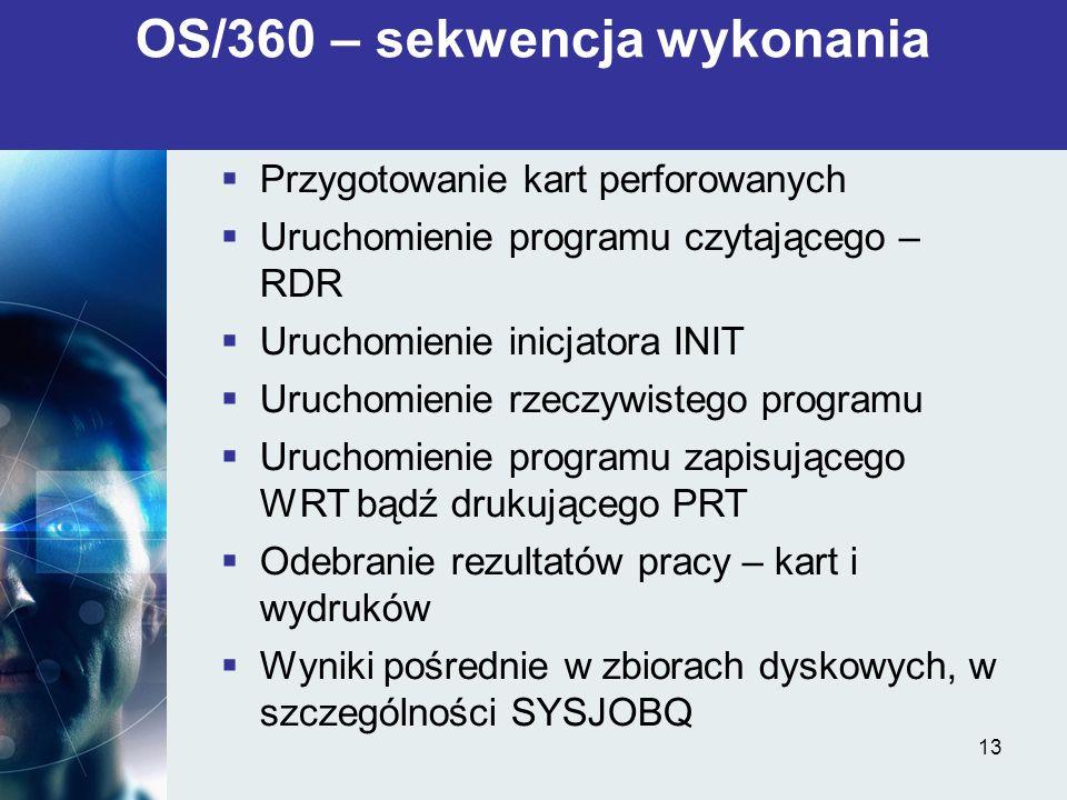13 Przygotowanie kart perforowanych Uruchomienie programu czytającego – RDR Uruchomienie inicjatora INIT Uruchomienie rzeczywistego programu Uruchomie