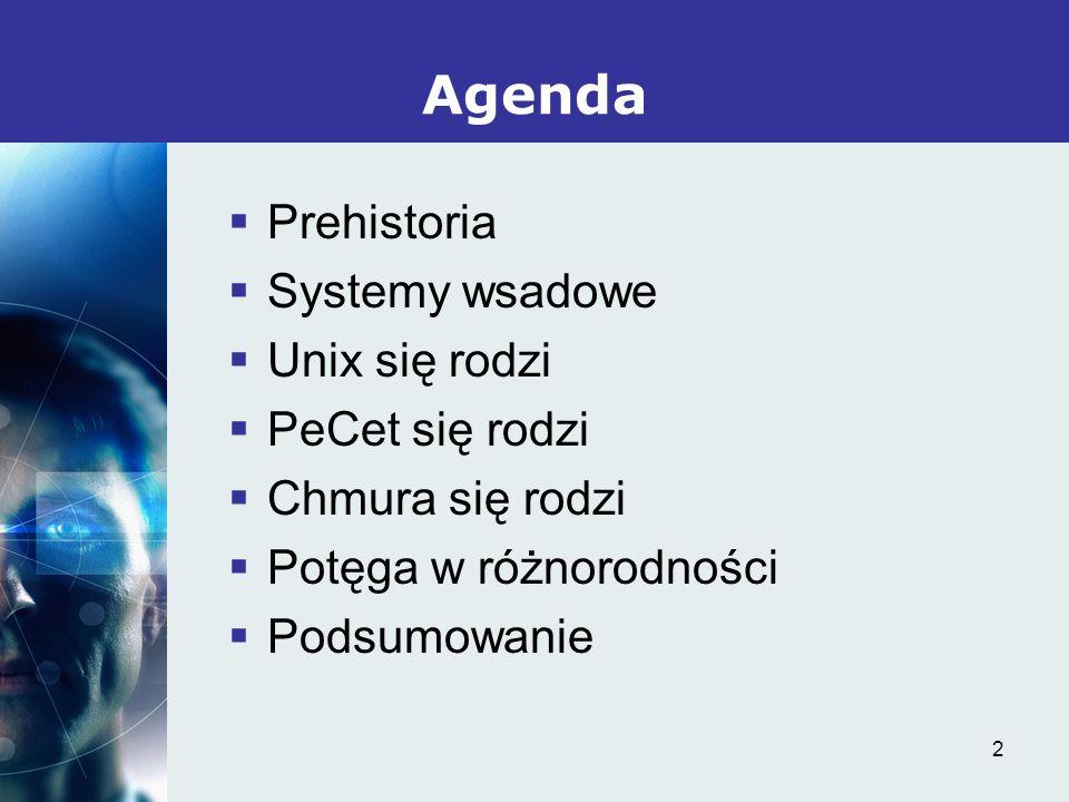 2 Prehistoria Systemy wsadowe Unix się rodzi PeCet się rodzi Chmura się rodzi Potęga w różnorodności Podsumowanie Agenda