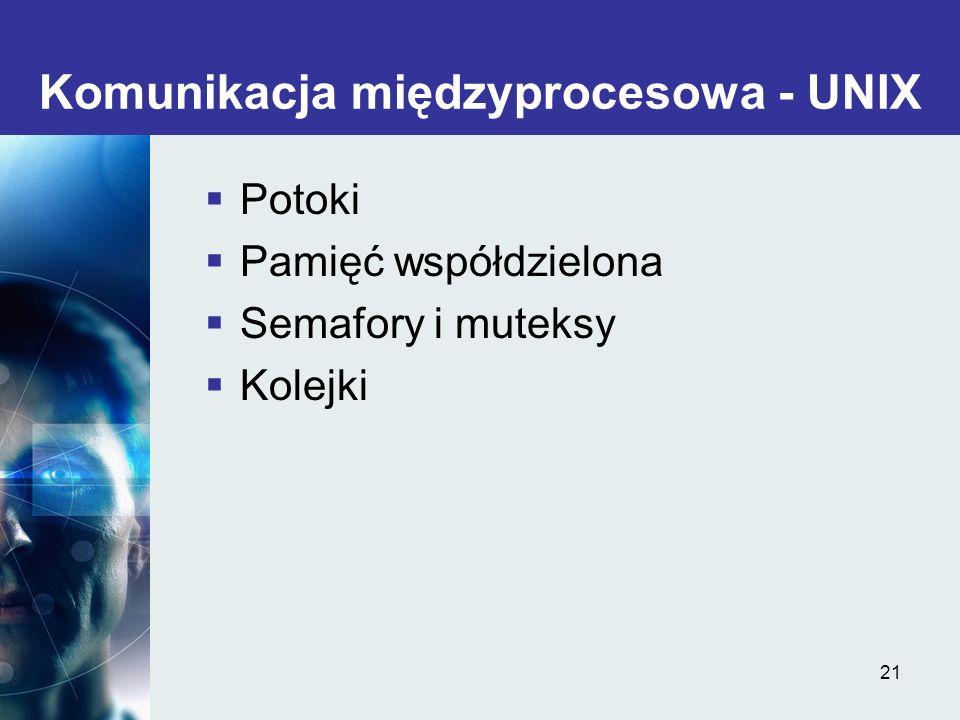 21 Komunikacja międzyprocesowa - UNIX Potoki Pamięć współdzielona Semafory i muteksy Kolejki