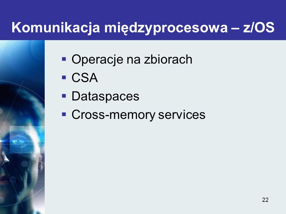 22 Komunikacja międzyprocesowa – z/OS Operacje na zbiorach CSA Dataspaces Cross-memory services