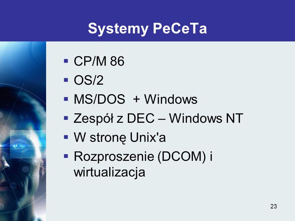 23 Systemy PeCeTa CP/M 86 OS/2 MS/DOS + Windows Zespół z DEC – Windows NT W stronę Unix'a Rozproszenie (DCOM) i wirtualizacja