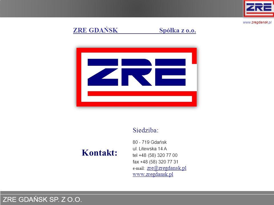 ZRE GDAŃSK SP. Z O.O. www.zregdansk.pl ZRE GDAŃSK Spółka z o.o. Kontakt: Siedziba: 80 - 719 Gdańsk ul. Litewska 14 A tel +48 (58) 320 77 00 fax +48 (5