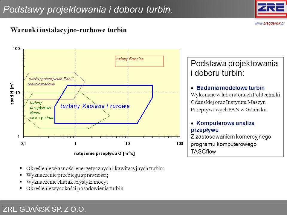 ZRE GDAŃSK SP. Z O.O. www.zregdansk.pl Podstawy projektowania i doboru turbin. Warunki instalacyjno-ruchowe turbin Podstawa projektowania i doboru tur