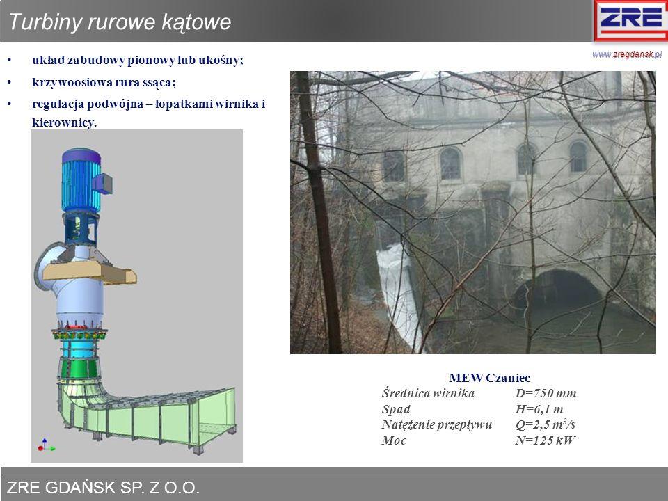 ZRE GDAŃSK SP. Z O.O. www.zregdansk.pl Turbiny rurowe kątowe układ zabudowy pionowy lub ukośny; krzywoosiowa rura ssąca; regulacja podwójna – łopatkam