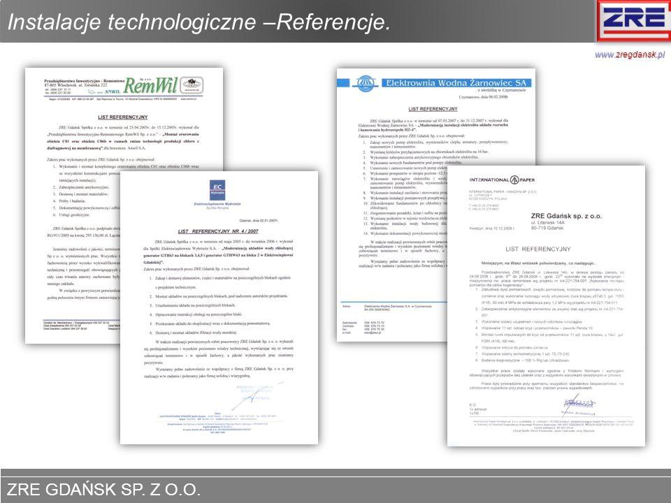 ZRE GDAŃSK SP. Z O.O. www.zregdansk.pl Instalacje technologiczne –Referencje. www.zregdansk.pl