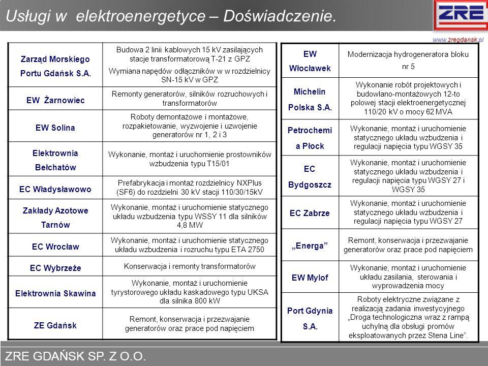 ZRE GDAŃSK SP. Z O.O. www.zregdansk.pl Usługi w elektroenergetyce – Doświadczenie. Zarząd Morskiego Portu Gdańsk S.A. Budowa 2 linii kablowych 15 kV z