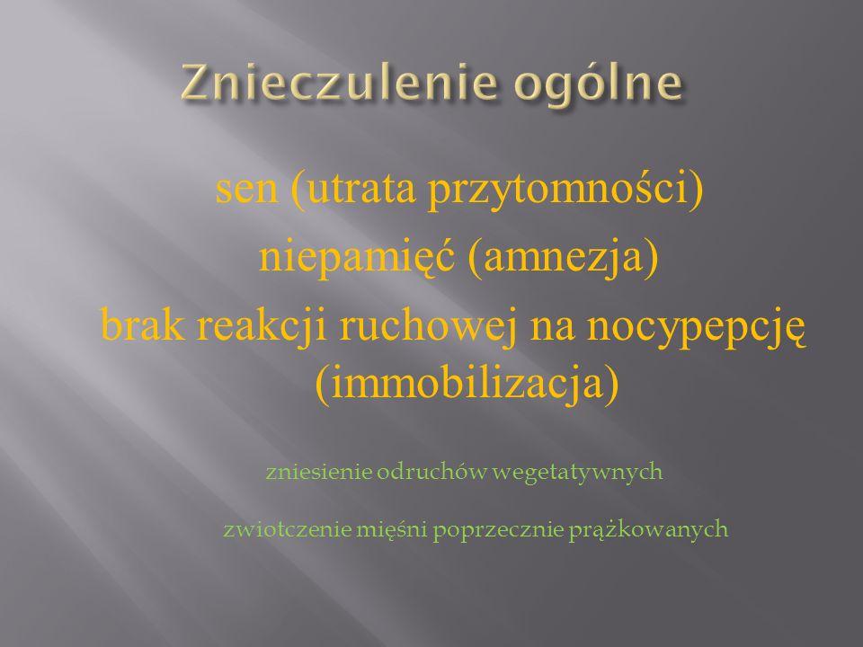 sen (utrata przytomności) niepamięć (amnezja) brak reakcji ruchowej na nocypepcję (immobilizacja) zniesienie odruchów wegetatywnych zwiotczenie mięśni