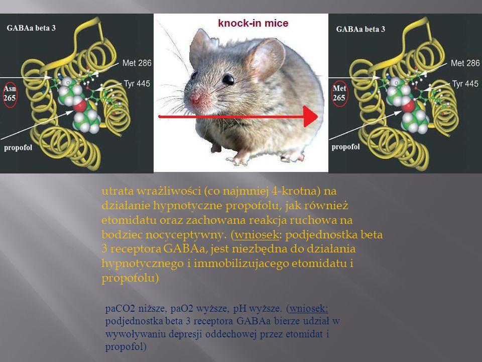 utrata wrażliwości (co najmniej 4-krotna) na działanie hypnotyczne propofolu, jak również etomidatu oraz zachowana reakcja ruchowa na bodziec nocycept