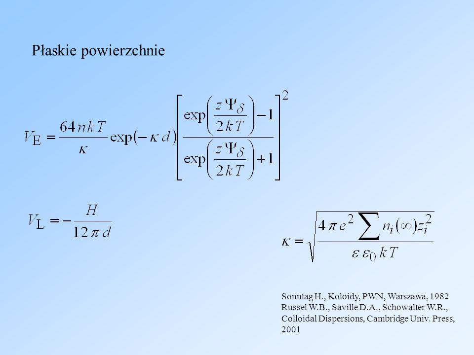 Russel W.B., Saville D.A., Schowalter W.R., Colloidal Dispersions, Cambridge Univ. Press, 2001 Płaskie powierzchnie