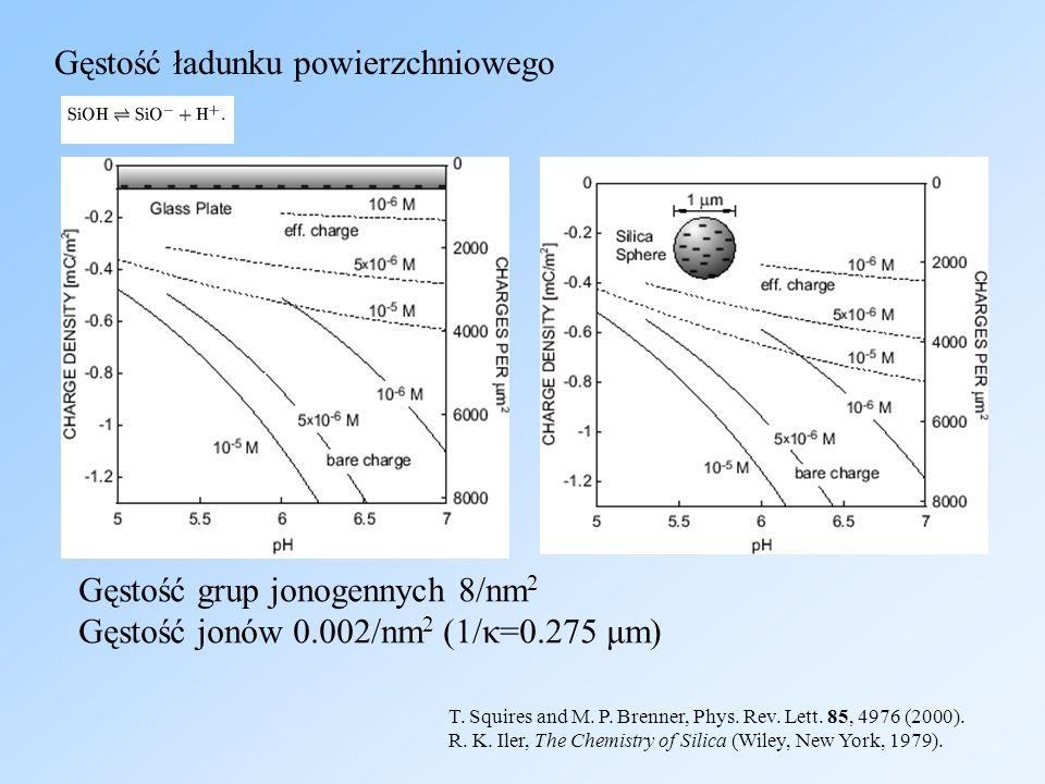 Gęstość ładunku powierzchniowego T. Squires and M. P. Brenner, Phys. Rev. Lett. 85, 4976 (2000). R. K. Iler, The Chemistry of Silica (Wiley, New York,