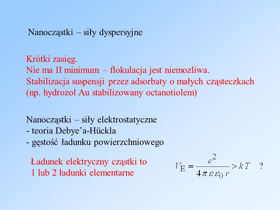 Nanocząstki – siły dyspersyjne Nanocząstki – siły elektrostatyczne - teoria Debyea-Hückla - gęstość ładunku powierzchniowego Krótki zasięg.
