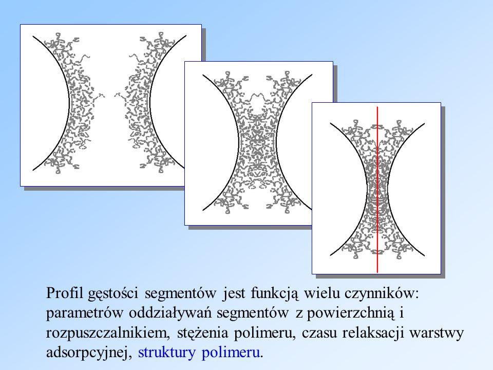 Profil gęstości segmentów jest funkcją wielu czynników: parametrów oddziaływań segmentów z powierzchnią i rozpuszczalnikiem, stężenia polimeru, czasu relaksacji warstwy adsorpcyjnej, struktury polimeru.
