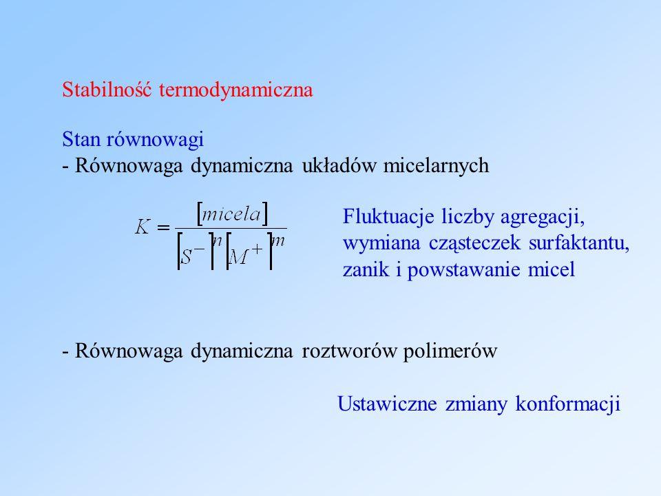 Stabilność termodynamiczna Stan równowagi - Równowaga dynamiczna układów micelarnych - Równowaga dynamiczna roztworów polimerów Fluktuacje liczby agregacji, wymiana cząsteczek surfaktantu, zanik i powstawanie micel Ustawiczne zmiany konformacji