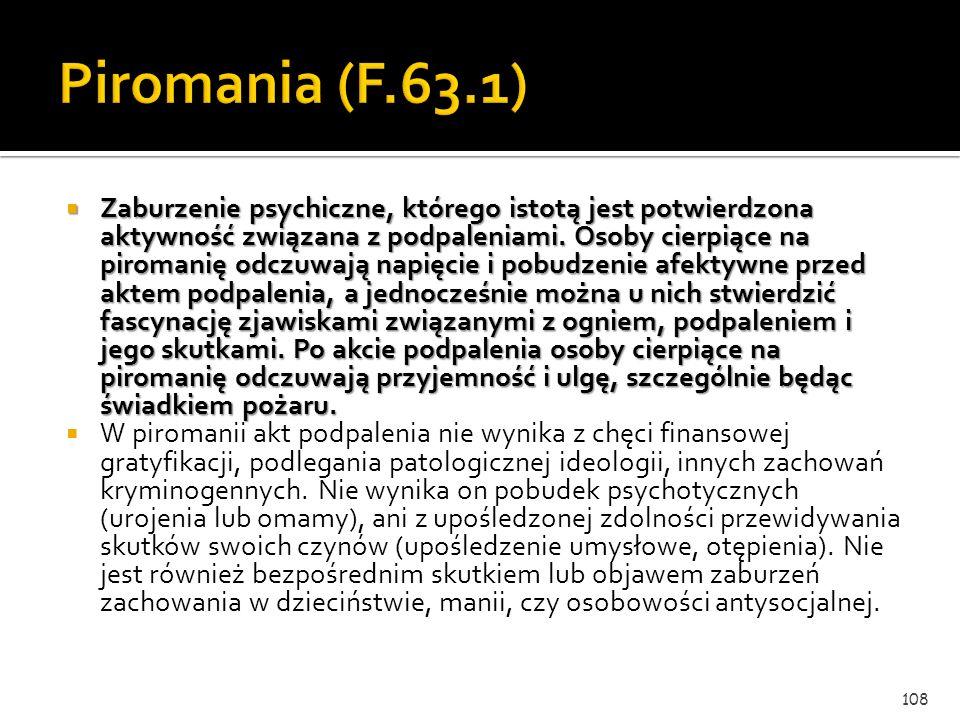 Zaburzenia zachowania obejmują w ICD-10 nie homogenną grupę zaburzeń psychicznych (F.63-F.69), wśród których część obejmuje zaburzenia kontroli impuls