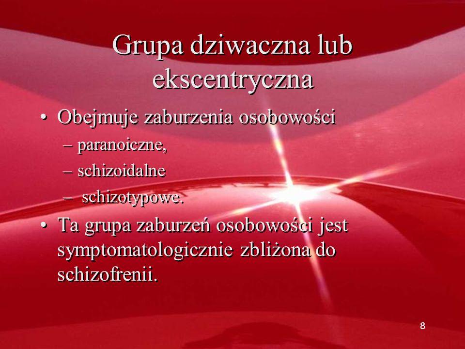 Grupa dziwaczna lub ekscentryczna Obejmuje zaburzenia osobowości –paranoiczne, –schizoidalne – schizotypowe.