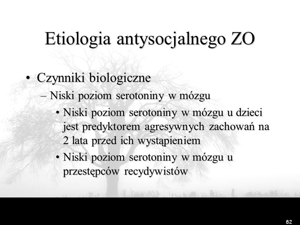 81 Etiologia antysocjalnego ZO –Raine i in. (1990) Wolne fale w EEG, wolne tętno i gorsze przewodnictwo skórne w wieku 15 lat jest predyktorem zachowa