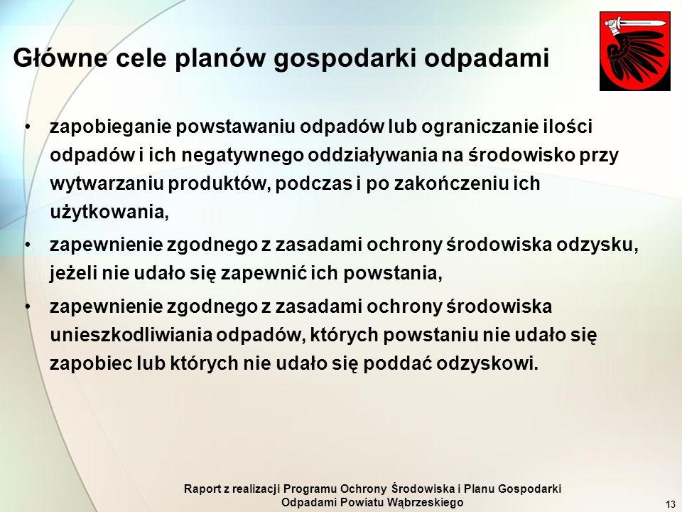 Raport z realizacji Programu Ochrony Środowiska i Planu Gospodarki Odpadami Powiatu Wąbrzeskiego 13 Główne cele planów gospodarki odpadami zapobiegani