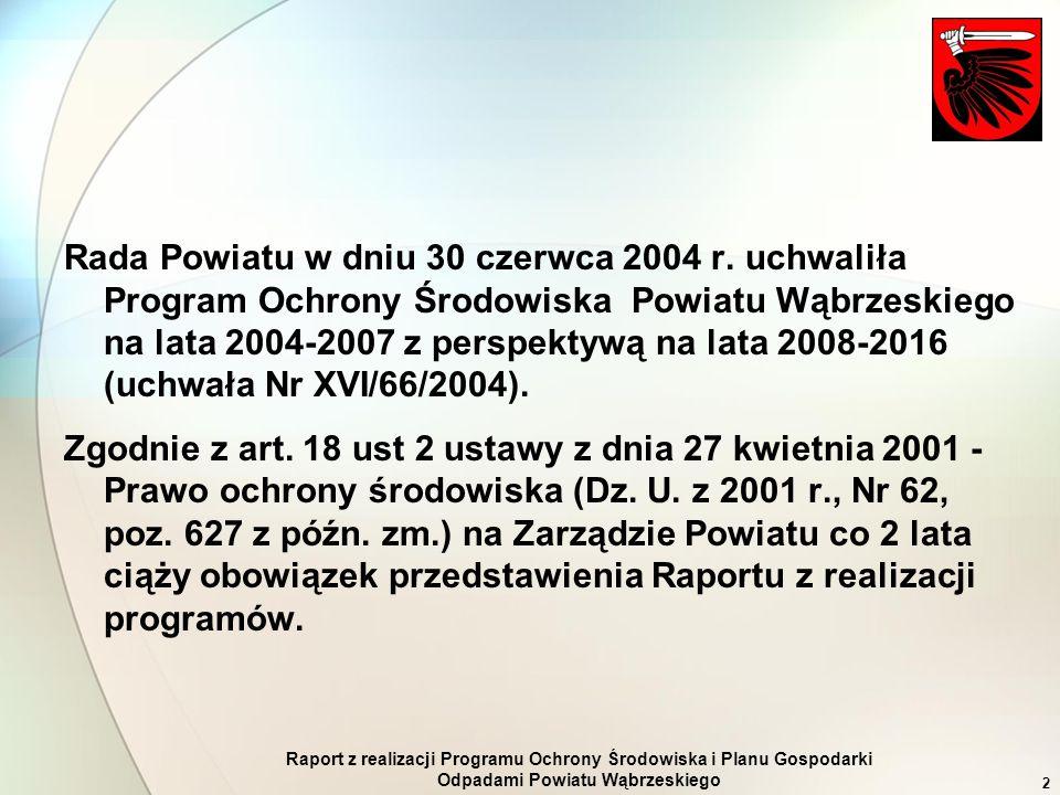 Raport z realizacji Programu Ochrony Środowiska i Planu Gospodarki Odpadami Powiatu Wąbrzeskiego 2 Rada Powiatu w dniu 30 czerwca 2004 r. uchwaliła Pr