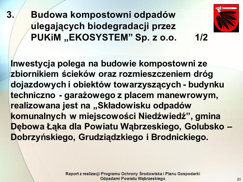 Raport z realizacji Programu Ochrony Środowiska i Planu Gospodarki Odpadami Powiatu Wąbrzeskiego 23 3. Budowa kompostowni odpadów ulegających biodegra