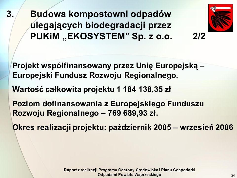 Raport z realizacji Programu Ochrony Środowiska i Planu Gospodarki Odpadami Powiatu Wąbrzeskiego 24 Projekt współfinansowany przez Unię Europejską – E
