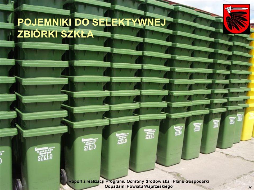 Raport z realizacji Programu Ochrony Środowiska i Planu Gospodarki Odpadami Powiatu Wąbrzeskiego 32 POJEMNIKI DO SELEKTYWNEJ ZBIÓRKI SZKŁA
