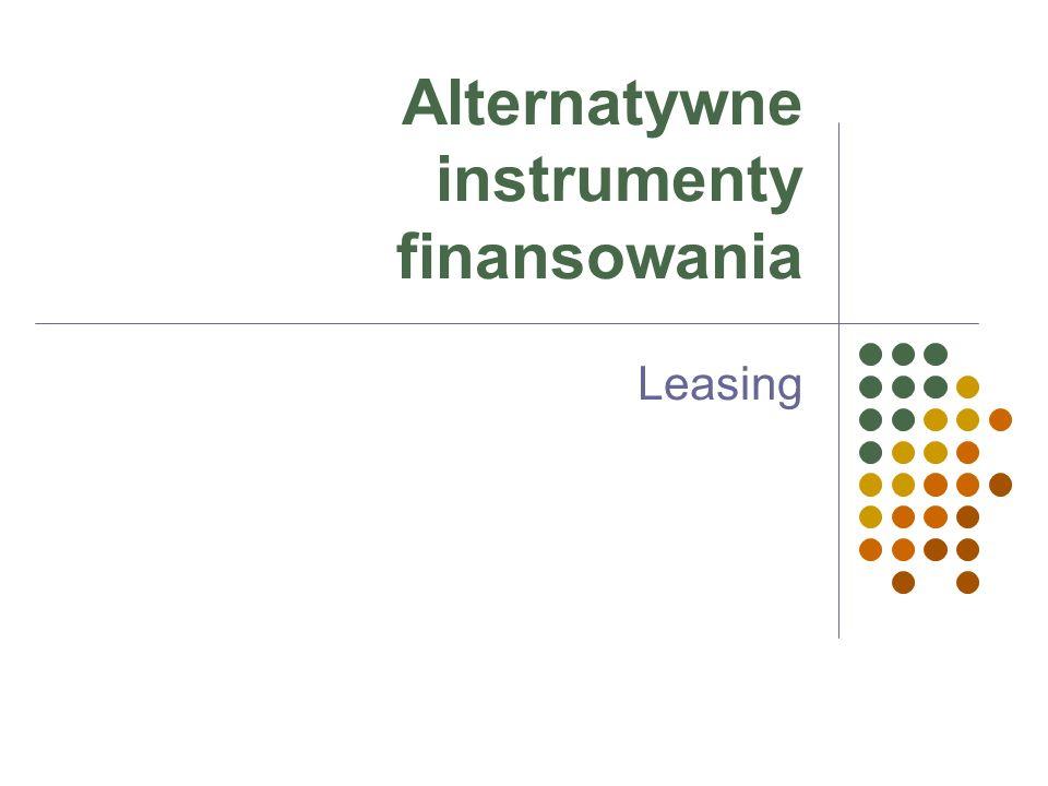 Wpływ na wskaźniki firmyKredytLeasing operacyjny ZobowiązaniebilansowePozabilansowe (nie zamyka drogi do pozyskania dalszego finansowania) Wskaźnik zadłużeniapogorszenieneutralny Wskaźnik płynnościpogorszenieNeutralny Swoboda dysponowaniaW zależności od zabezpieczenia umowy Brak, po zakończeniu umowy, przy wykupie przedmiotu różne możliwości wskazania nabywcy Dźwignia finansowa w przedsiębiorstwie wzrostWzrost Procedury oceny zdolności kredytowej Długotrwałe i złożoneKrótkie, w niektórych przypadkach nie bada się zdolności kredytowej Zabezpieczenie transakcjiTak; pełny katalog zabezpieczeń rzeczowych i osobistych Tak; dla kontraktów standardowych tylko weksle Obowiązek ubezpieczenia przedmiotu Tak – dodatkowy koszt, Cesja z polisy jako dodatkowe zabezpieczenie Zawsze- dodatkowy koszt, strata ograniczona do równowartości składki Wahania rynkowych stóp procentowych takTak Korzyść podatkowaCzęściowa - późniejszaPełna - szybka
