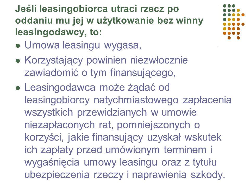 Istotne cechy leasingu Oddanie w odpłatne użytkowanie przedmiotu leasingu, Podstawowy obowiązek leasingodawcy to wydanie (przeniesienie posiadania) pr