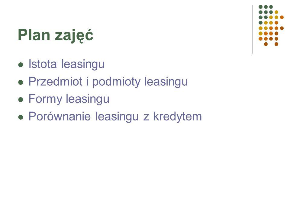 Plan zajęć Istota leasingu Przedmiot i podmioty leasingu Formy leasingu Porównanie leasingu z kredytem