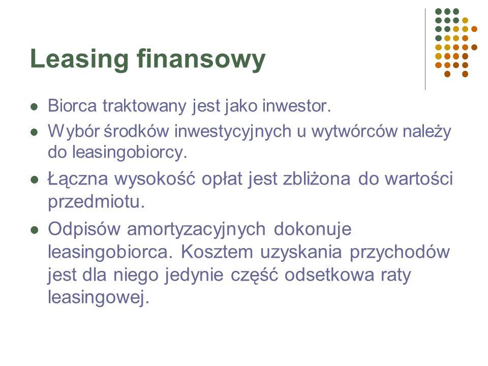 Leasing finansowy (kapitałowy) Finansowanie inwestycji, np. zakupu maszyn, instalacji, pełnego wyposażenia zakładu. Czas trwania umowy leasingu zbliżo