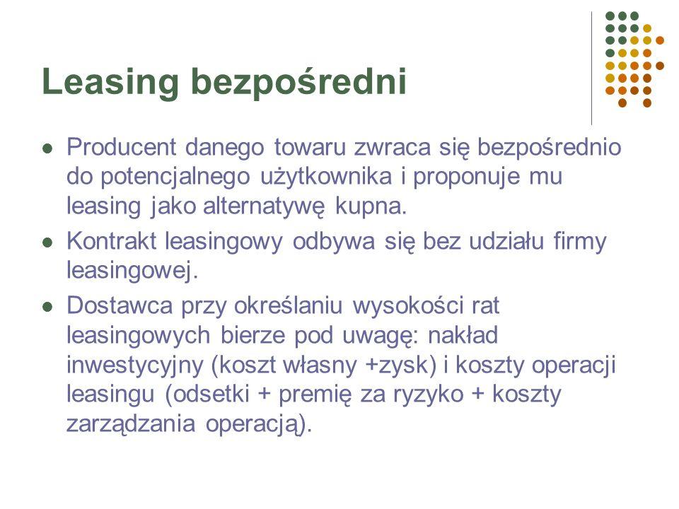 Leasing pośredni LEASINGOBIORCALEASINGODAWCA Rata leasingowa Przedmiot leasingu PRODUCENT Cena zakupu