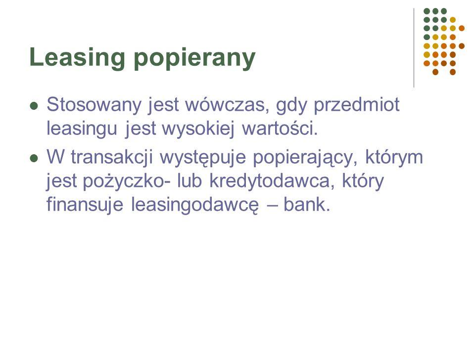 Funkcje firmy leasingowej Finansowanie zakupu, ponoszenie ryzyka, świadczenie usług. Wydatki firmy leasingowej – cena zapłacona dostawcy przy zakupie
