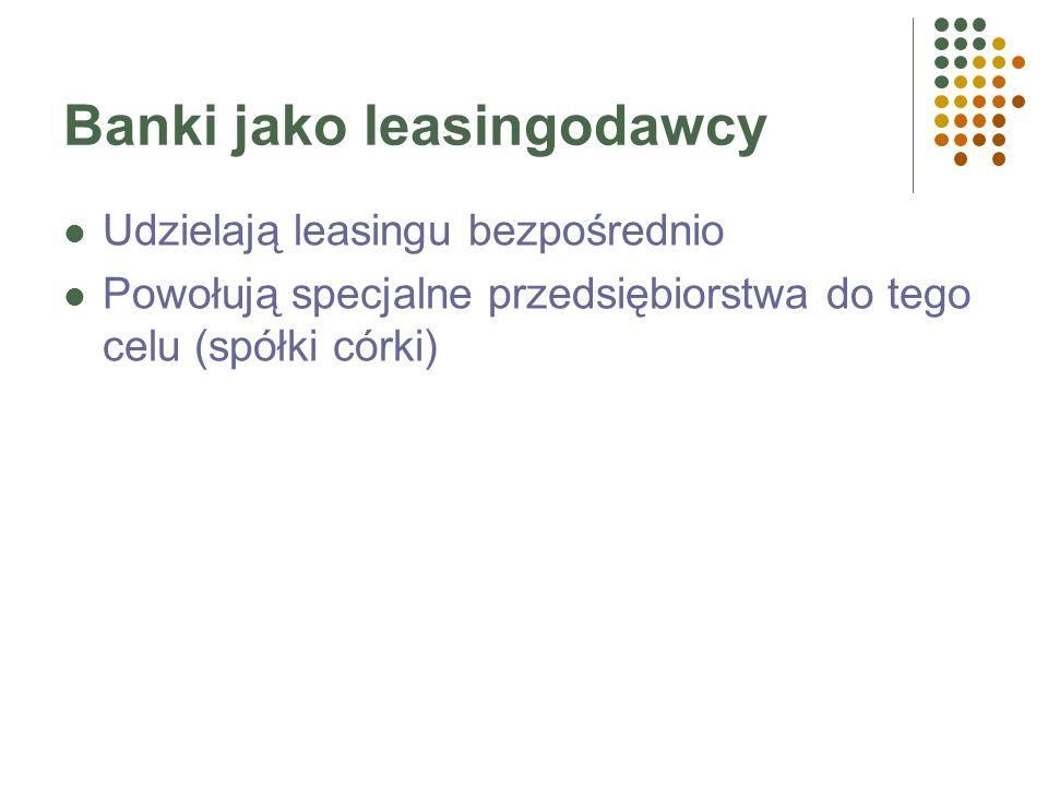 Kryterium: wysokość pierwszej raty Leasing lombardowy – wysoka pierwsza rata leasingowa (opłata wstępna), np. 40%. Leasing norweski – leasing zwrotny,