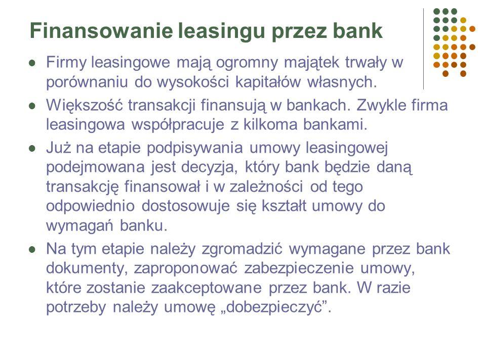 Banki jako leasingodawcy Udzielają leasingu bezpośrednio Powołują specjalne przedsiębiorstwa do tego celu (spółki córki)