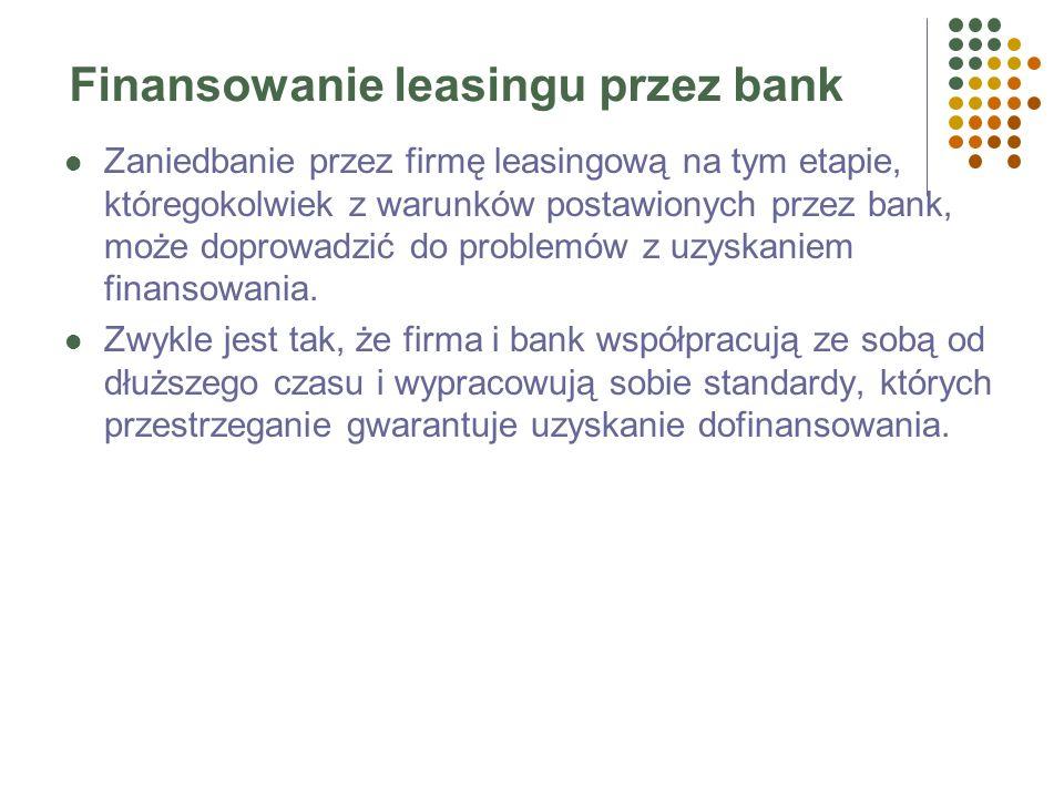 Finansowanie leasingu przez bank Firmy leasingowe mają ogromny majątek trwały w porównaniu do wysokości kapitałów własnych. Większość transakcji finan