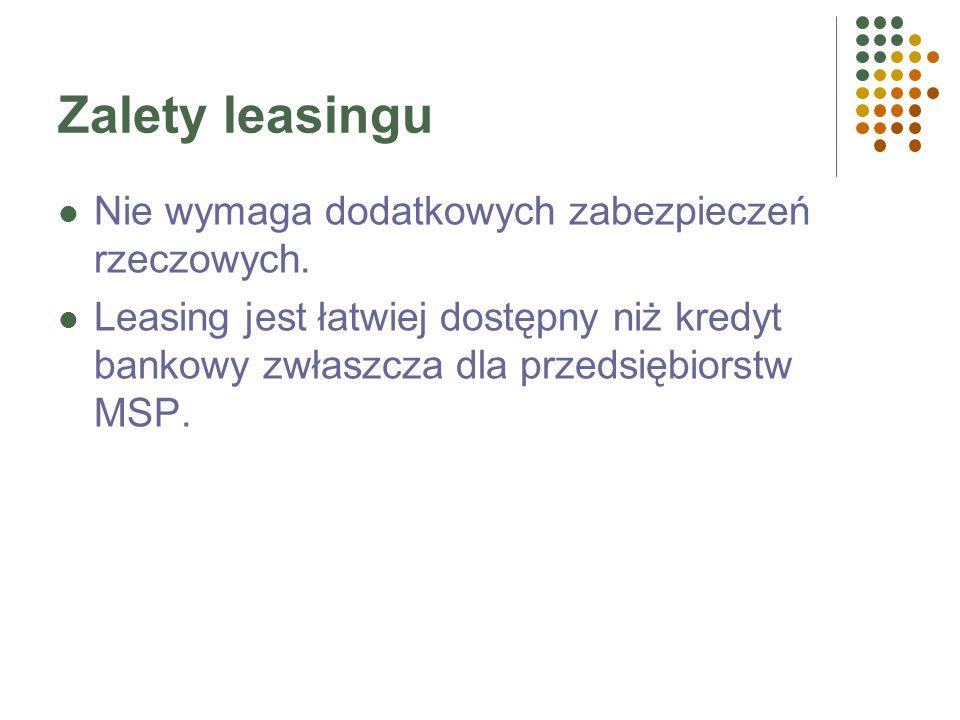Zalety leasingu Możliwości finansowania całości nakładów inwestycyjnych. Elastyczność finansowania inwestycji (różnorodność transakcji) Niskie obciąże