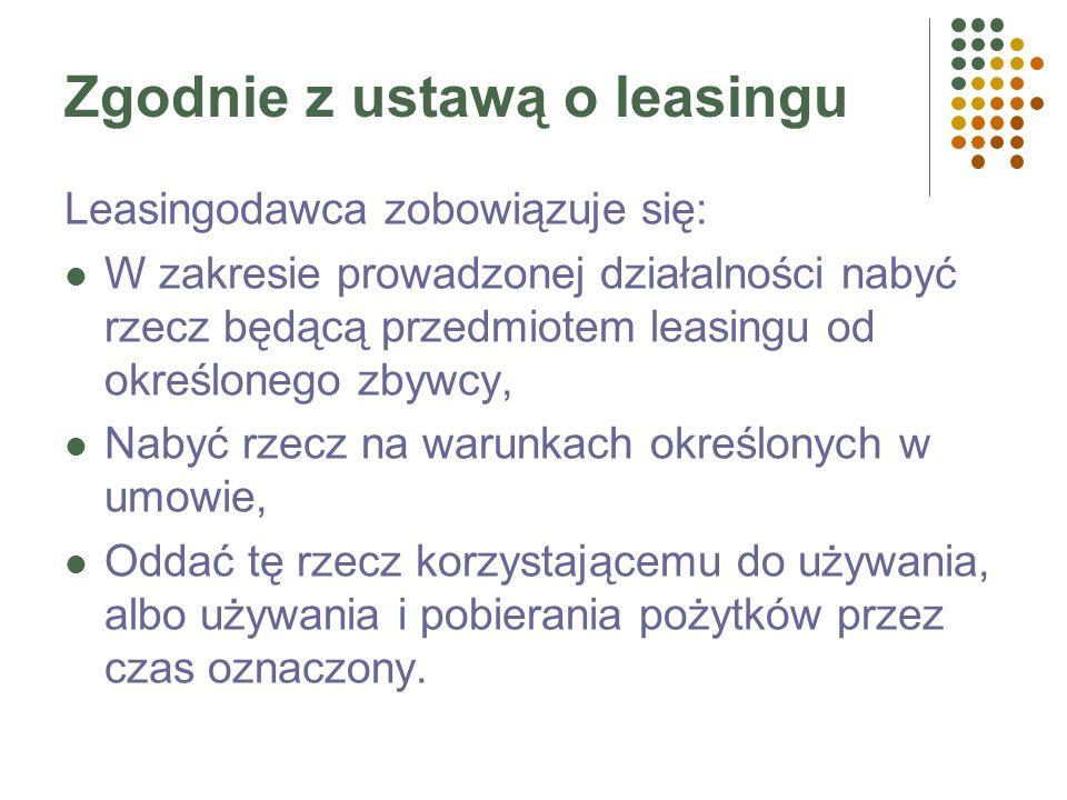 Zgodnie z ustawą o leasingu Leasingodawca zobowiązuje się: W zakresie prowadzonej działalności nabyć rzecz będącą przedmiotem leasingu od określonego zbywcy, Nabyć rzecz na warunkach określonych w umowie, Oddać tę rzecz korzystającemu do używania, albo używania i pobierania pożytków przez czas oznaczony.