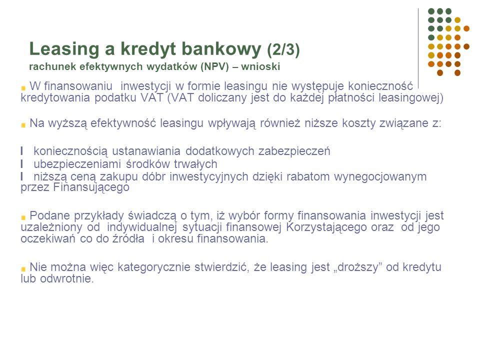 Leasing a kredyt bankowy (1/3) rachunek efektywnych wydatków (NPV) – wnioski Finansowanie w formie leasingu jest bardziej efektywne, na tle finansowan