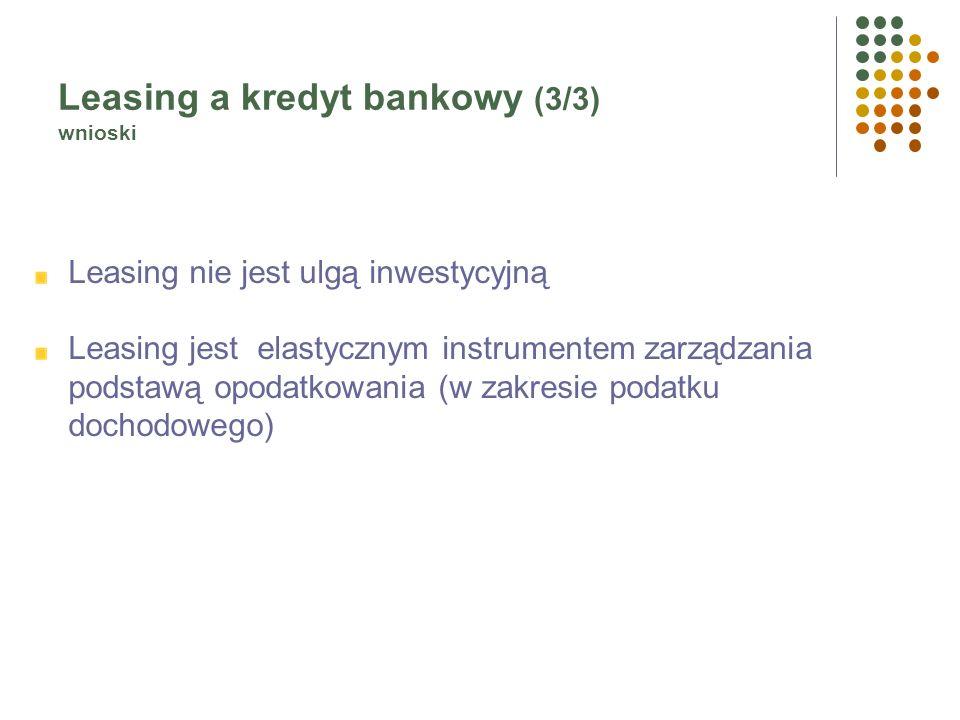 Leasing a kredyt bankowy (2/3) rachunek efektywnych wydatków (NPV) – wnioski W finansowaniu inwestycji w formie leasingu nie występuje konieczność kre