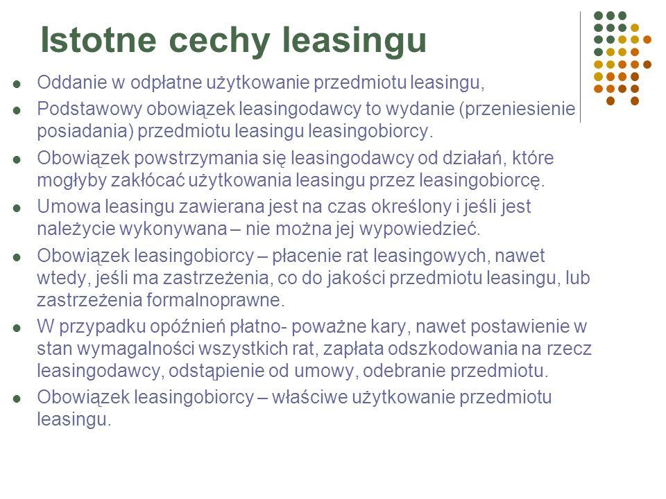 Istotne cechy leasingu Oddanie w odpłatne użytkowanie przedmiotu leasingu, Podstawowy obowiązek leasingodawcy to wydanie (przeniesienie posiadania) przedmiotu leasingu leasingobiorcy.