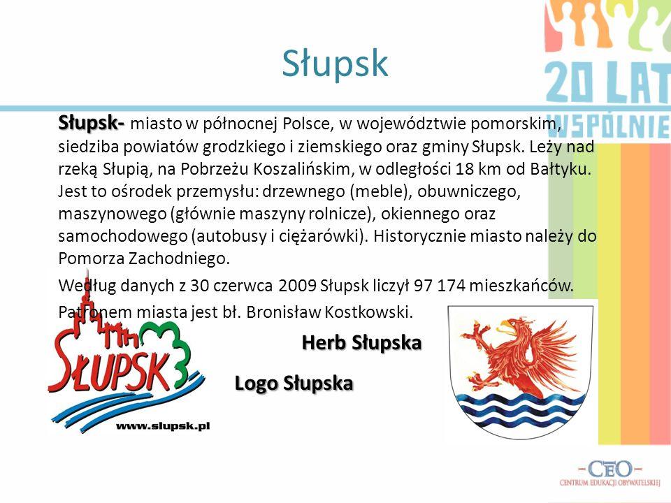 Słupsk Słupsk- Słupsk- miasto w północnej Polsce, w województwie pomorskim, siedziba powiatów grodzkiego i ziemskiego oraz gminy Słupsk. Leży nad rzek