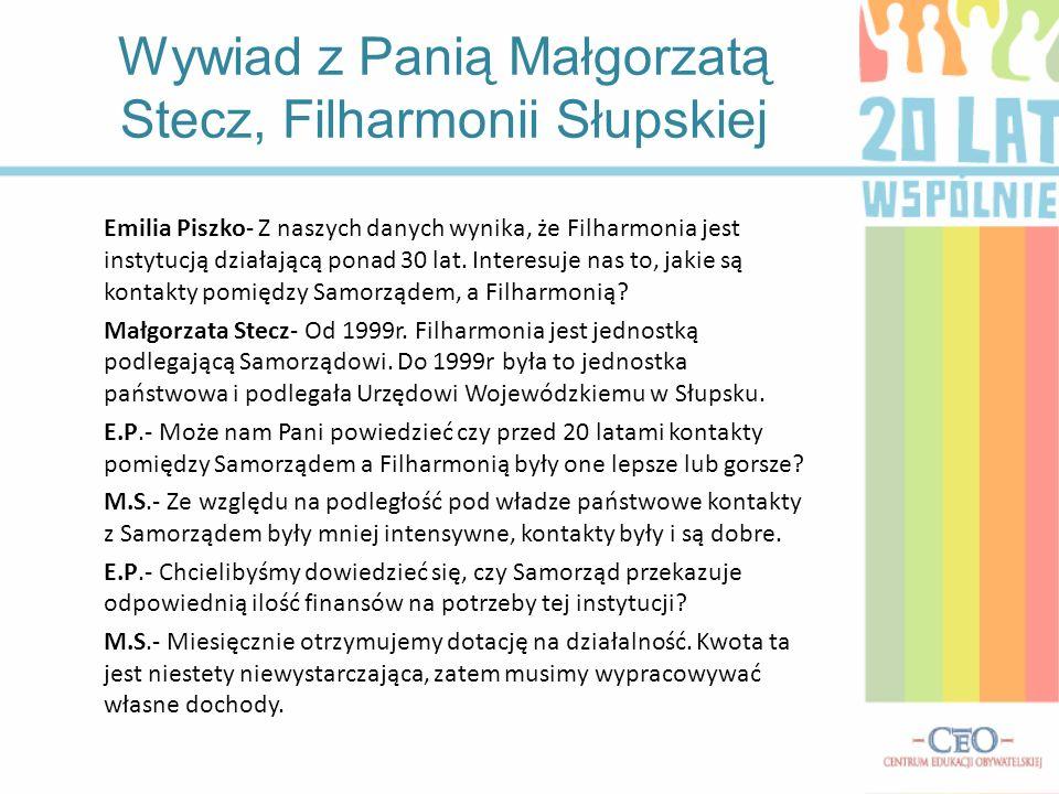 Emilia Piszko- Z naszych danych wynika, że Filharmonia jest instytucją działającą ponad 30 lat. Interesuje nas to, jakie są kontakty pomiędzy Samorząd