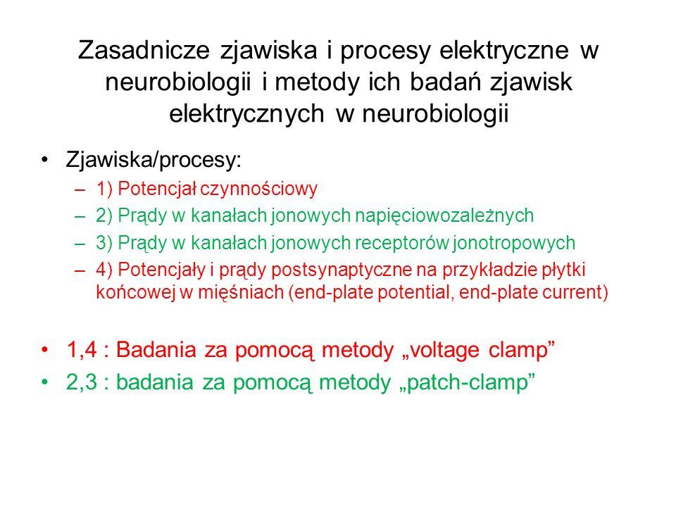 Zasadnicze zjawiska i procesy elektryczne w neurobiologii i metody ich badań zjawisk elektrycznych w neurobiologii Zjawiska/procesy: –1) Potencjał czynnościowy –2) Prądy w kanałach jonowych napięciowozależnych –3) Prądy w kanałach jonowych receptorów jonotropowych –4) Potencjały i prądy postsynaptyczne na przykładzie płytki końcowej w mięśniach (end-plate potential, end-plate current) 1,4 : Badania za pomocą metody voltage clamp 2,3 : badania za pomocą metody patch-clamp