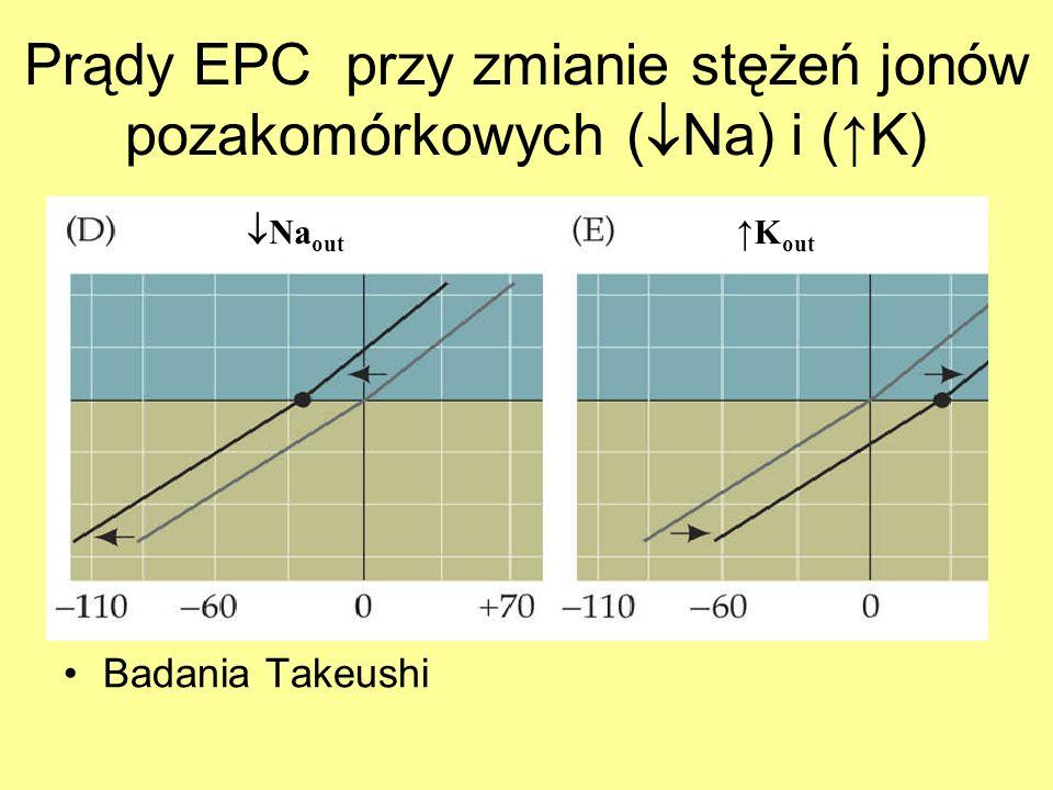 Prądy EPC przy zmianie stężeń jonów pozakomórkowych ( Na) i (K) Badania Takeushi Na out K out