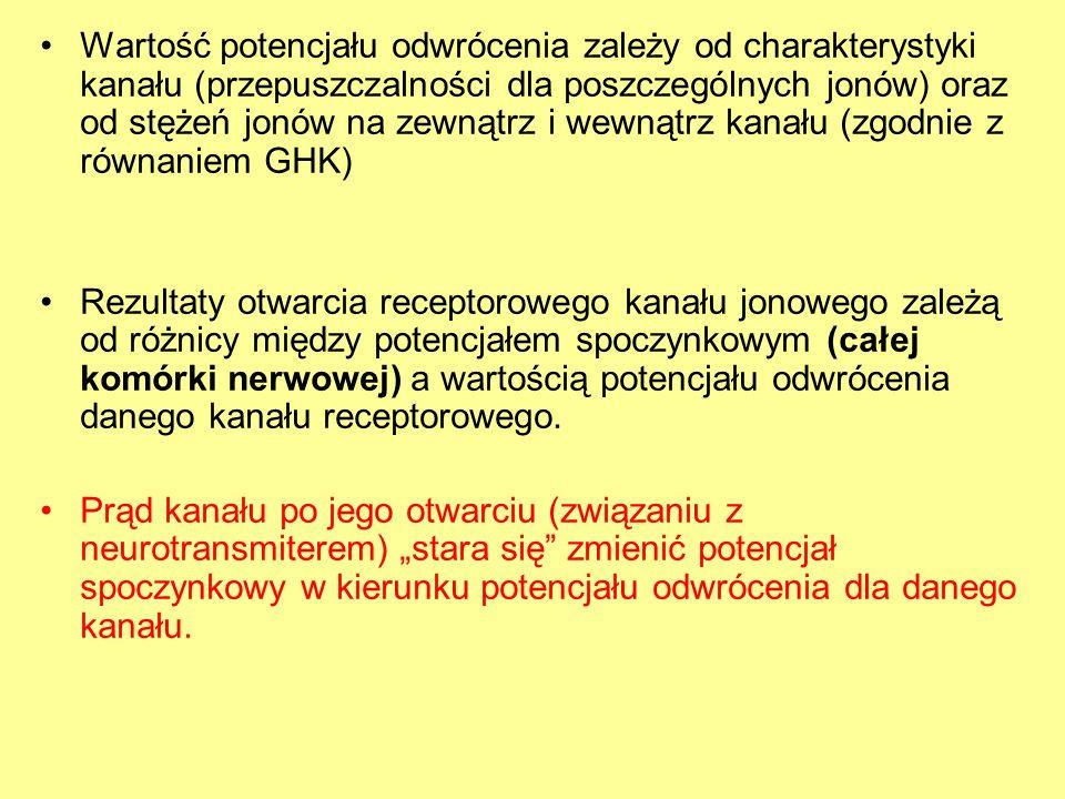 Wartość potencjału odwrócenia zależy od charakterystyki kanału (przepuszczalności dla poszczególnych jonów) oraz od stężeń jonów na zewnątrz i wewnątrz kanału (zgodnie z równaniem GHK) Rezultaty otwarcia receptorowego kanału jonowego zależą od różnicy między potencjałem spoczynkowym (całej komórki nerwowej) a wartością potencjału odwrócenia danego kanału receptorowego.