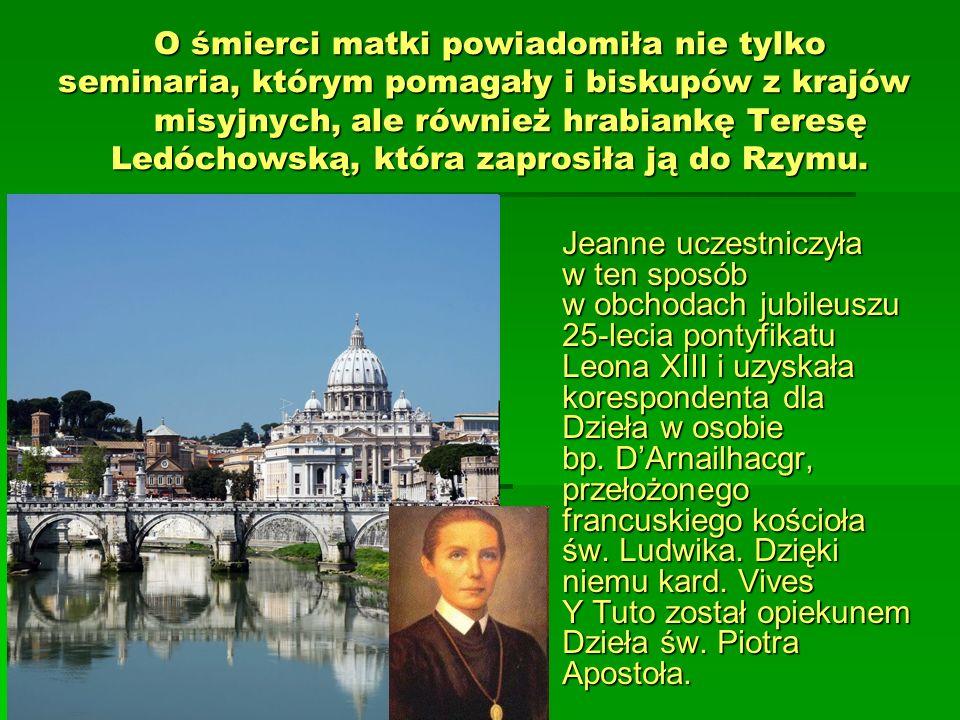 O śmierci matki powiadomiła nie tylko seminaria, którym pomagały i biskupów z krajów misyjnych, ale również hrabiankę Teresę Ledóchowską, która zapros
