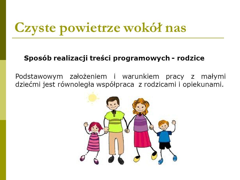 Czyste powietrze wokół nas Podstawowym założeniem i warunkiem pracy z małymi dziećmi jest równoległa współpraca z rodzicami i opiekunami. Sposób reali
