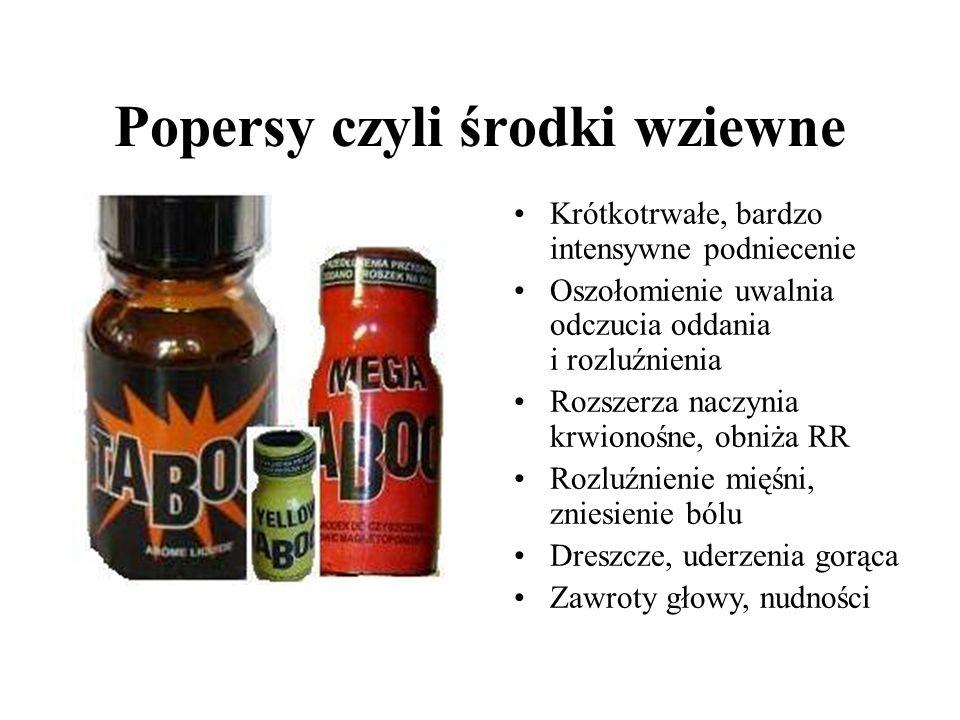 Środki wziewne Acetan amylu (zmywacz do paznokci, lakier) Podtlenek azotu, azotan amylu Azotyn butylu (odświeżacz powietrza) Rozpuszczalniki Węglowodory (paliwa) Toluen (farby) Aceton (barwniki, kleje) Kauczuk chloroprenowy (butapren) Bóle i zawroty głowy, tachykardia, nudności, bóle brzucha, kichanie, łzawienie, bóle w klatce piersiowej, uczucie dzwonienia w uszach, dezorientacja, senność, u stałych użytkowników wokół ust i nosa krosty oraz wrzody, pękają im wargi, robią wrażenie nieustannie przeziębionych, wydzielają nieprzyjemną woń, na ubraniach mają plamy.