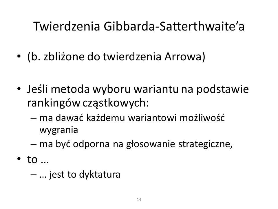 (b. zbliżone do twierdzenia Arrowa) Jeśli metoda wyboru wariantu na podstawie rankingów cząstkowych: – ma dawać każdemu wariantowi możliwość wygrania