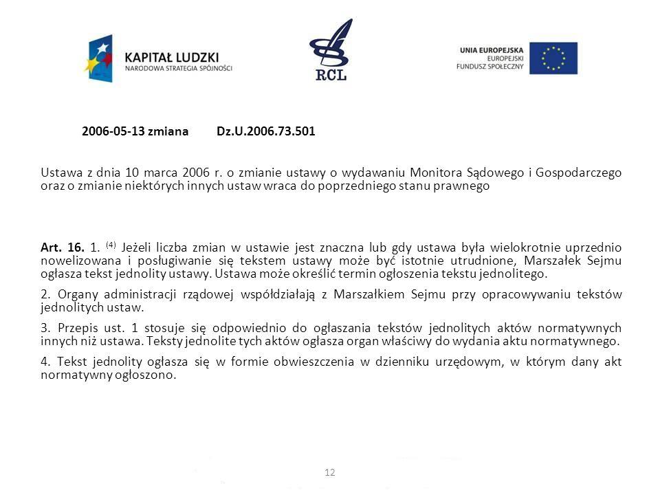2006-05-13zmiana Dz.U.2006.73.501 Ustawa z dnia 10 marca 2006 r. o zmianie ustawy o wydawaniu Monitora Sądowego i Gospodarczego oraz o zmianie niektór