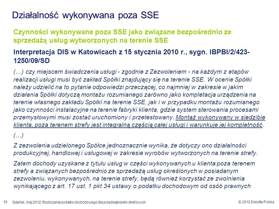 © 2012 Deloitte Polska 10 Gdańsk, maj 2012: Rozliczanie podatku dochodowego dla przedsiębiorstw strefowych Czynności wykonywane poza SSE jako związane